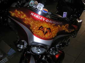 Harley Davidson / Electra glide / airbrush / americky orel / american eagle / true fire / realny ohen