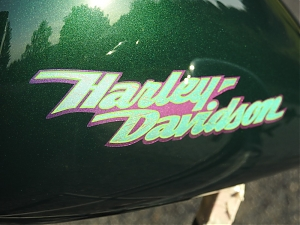 Harley Davidson , stavba , pinstriping , british racing green